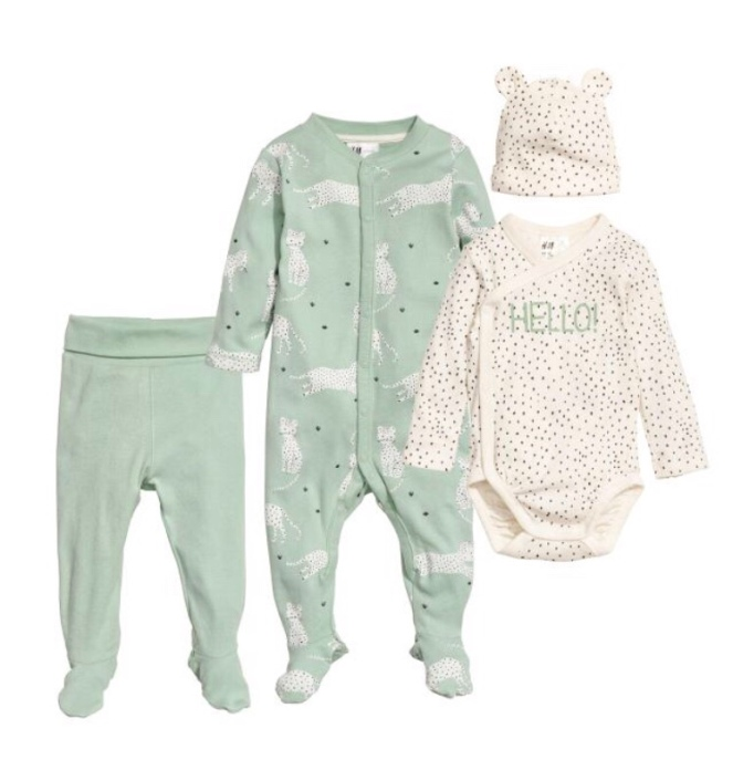 4-piece cotton set £14.99 Dusky green (0-9m)